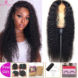Beauty Grace 4X4 Kinky Curly Human Hair Lace Front Wig Remy Hair Lace Closure Wig Density 150% Brazilian Hair 10-26 Inches(China)