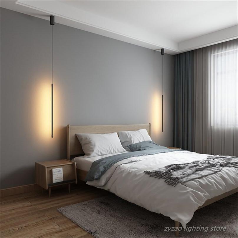 Modern Bedroom Bedside Led Pendant Lights Living Room TV Wall Decor LED Pendant Lamps Geometry Line Strip Hanging Light Fixtures