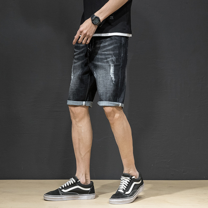 2019 Summer Thin Section Denim Shorts Men's Elasticity Straight Slim Casual Retro Shorts Men'S Wear Korean-style