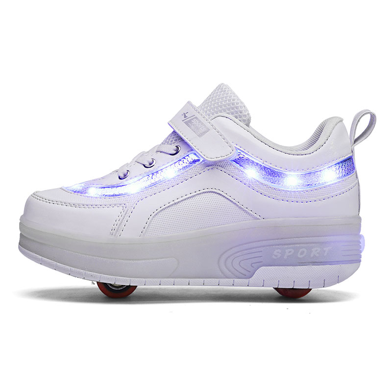 Children Two Wheels Luminous Glowing Sneakers Black Pink Led Light Roller Skate Shoes Kids Led Shoes Boys Girls USB Charging