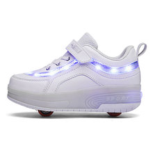 Children Two Wheels Luminous Glowing Sneakers Black Pink Led Light Roller Skate