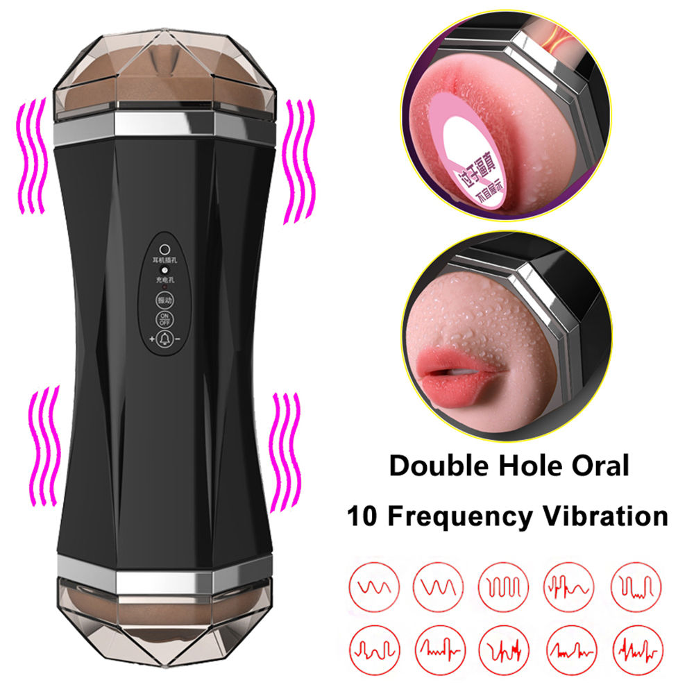 Male Masturbator <font><b>Sex</b></font> Toys Pussy Mouth Suck Deep Throat Real Vagina Double Hole <font><b>3D</b></font> Silicone Soft Masturbation Cup for Adult Man image