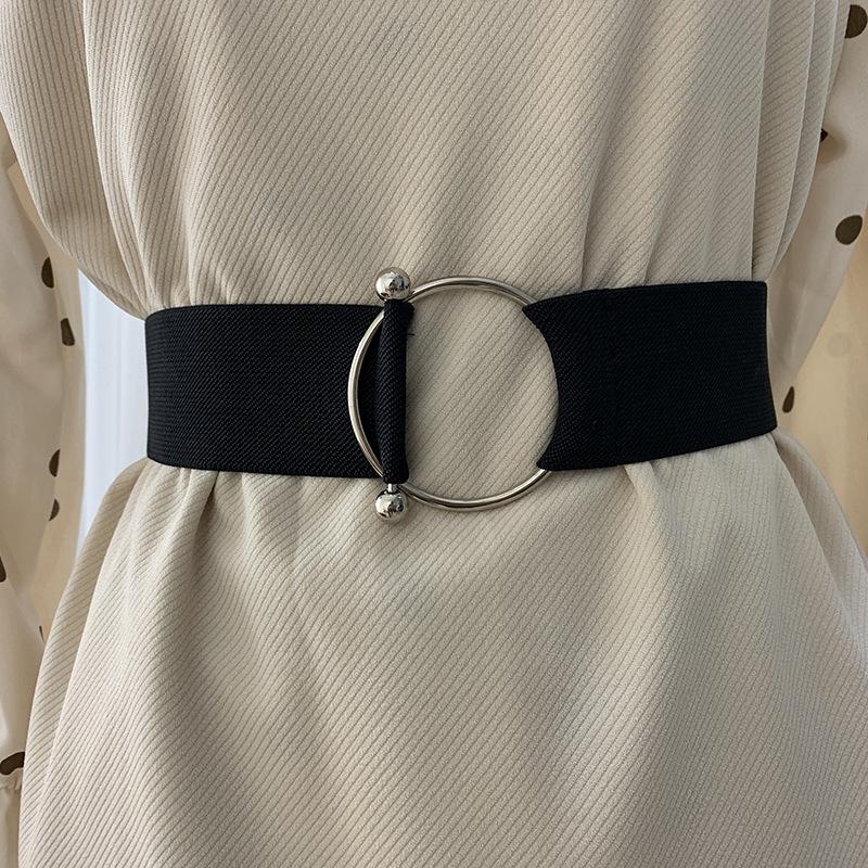 Belts for Women Black Simple Waist Elastic Ladies Band Round Buckle Decoration Coat Sweater Fashion Dress Rice White