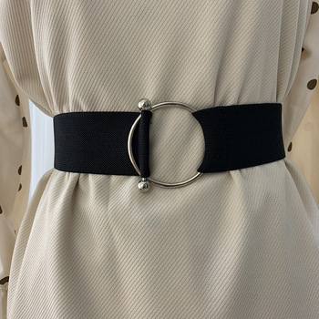 Belts For Women Black Simple Waist Elastic Ladies Band Round Buckle Decoration Coat Sweater Fashion Dress Rice White