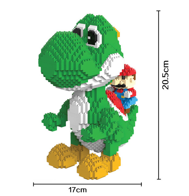 Modelo de blocos de construção marioeds bros yoshi desenhos animados juguetes anime figuras montado mini tijolo brinquedos educativos para crianças