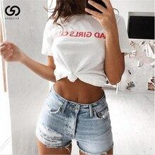 Harajuku Bad Girl Club Letter Printed Women T-Shirts Loose Short Sleeve Sexy T Shirt