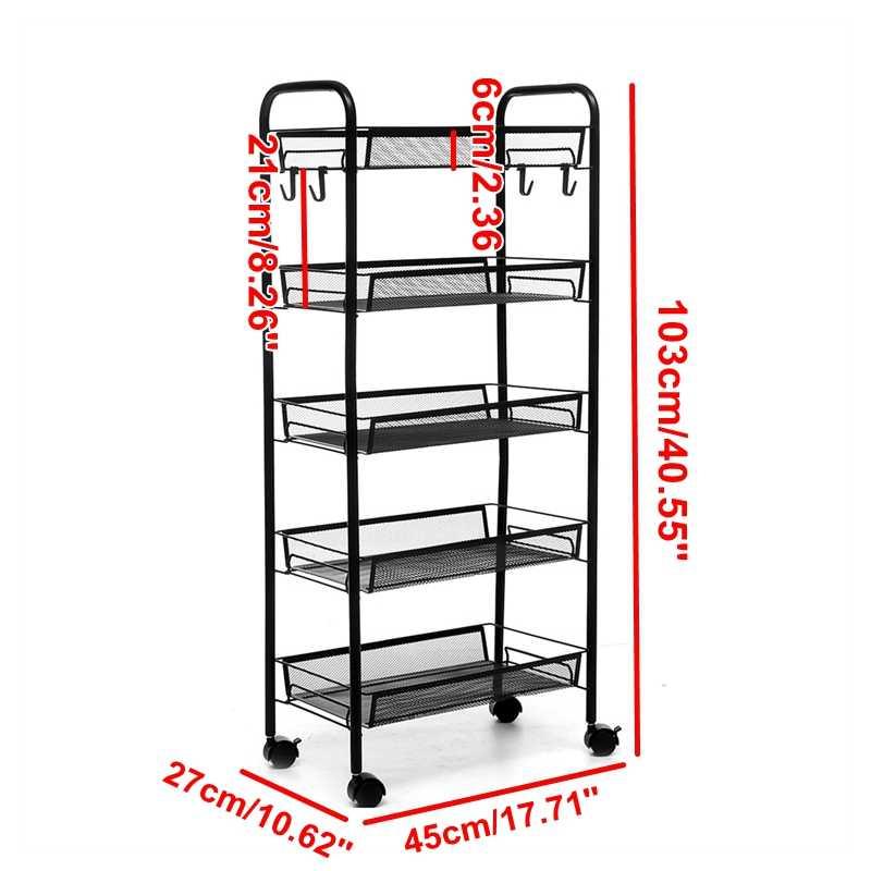 Estante de almacenamiento de cocina de 4/5 niveles, carrito de comida, carrito, cesta de Metal