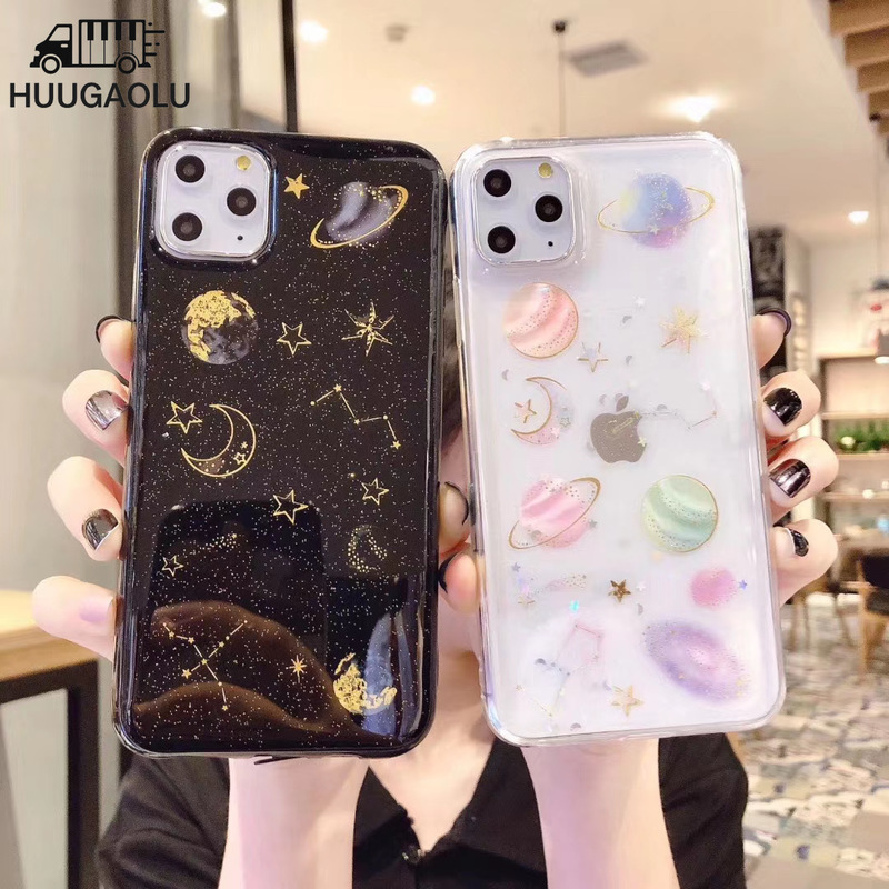 For <font><b>iPhone</b></font> SE 2020 SE 2 <font><b>Glitter</b></font> Planet Star Case Soft Silicone Cover for <font><b>iPhone</b></font> 6 6s 7 <font><b>8</b></font> Plus X XR Xs 11 Pro Max Coque image