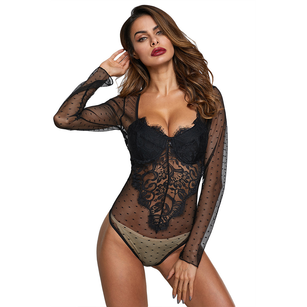 Shi Ying Autumn New Style Underwear Base Onesie Women's Lace Printed Transparent Sexy Bodysuits32317