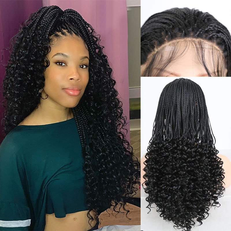 RONGDUOYI Black Hair Synthetic Lace Front Wig Long Braided Box Braids Wigs For Women Heat Resistant Fiber Hair Front Lace Wigs
