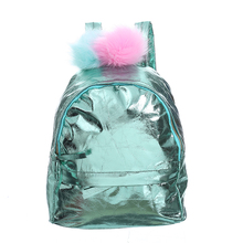 Women Laser Leather Backpack With Pompoms Holographic Backpacks Bookbag For Teenagers Student Girls PU Leather Daypack women pu cute leather backpack rabbit bear cat backpack with ear kawaii bookbag embroidery backpacks for teenage girls schoolbag