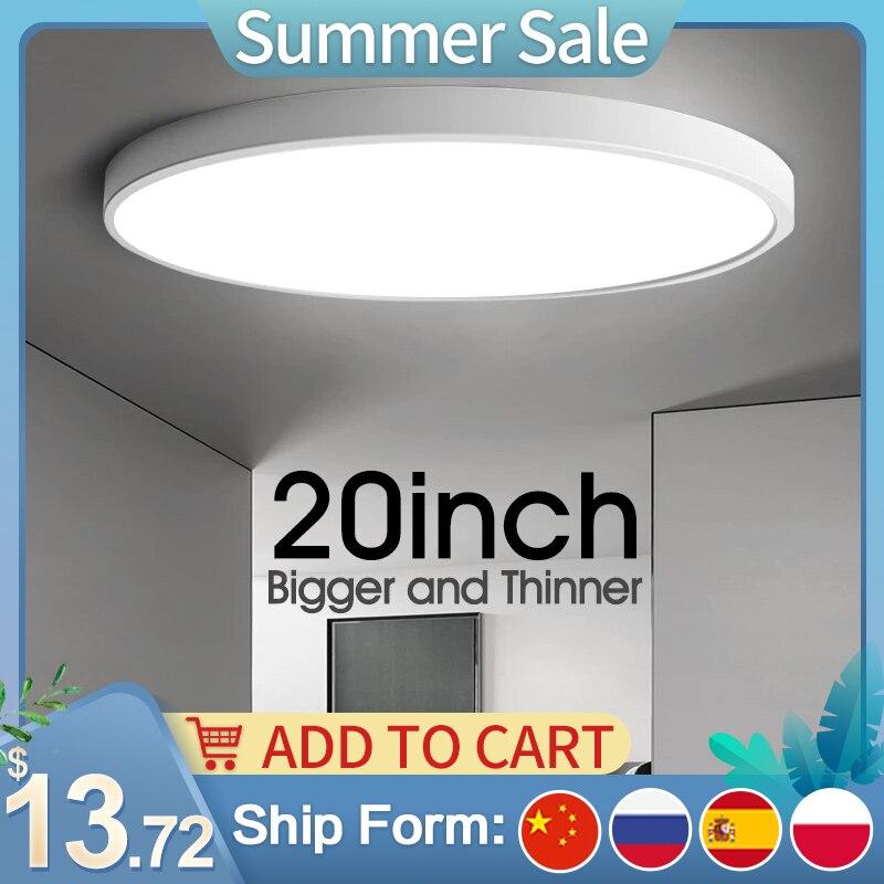 Ultra-thin Led Ceiling Light Modern 20inch Large Broad Lamp AC85-265V Surface Mount Flush Panel Lighting For Living Room Bedroom