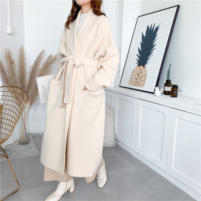 LANMREM 2020 Alpaca Knit Cardigan Jacket Women Autumn And Winter New Wild Mid-length Sweater Loose And Thick PC285