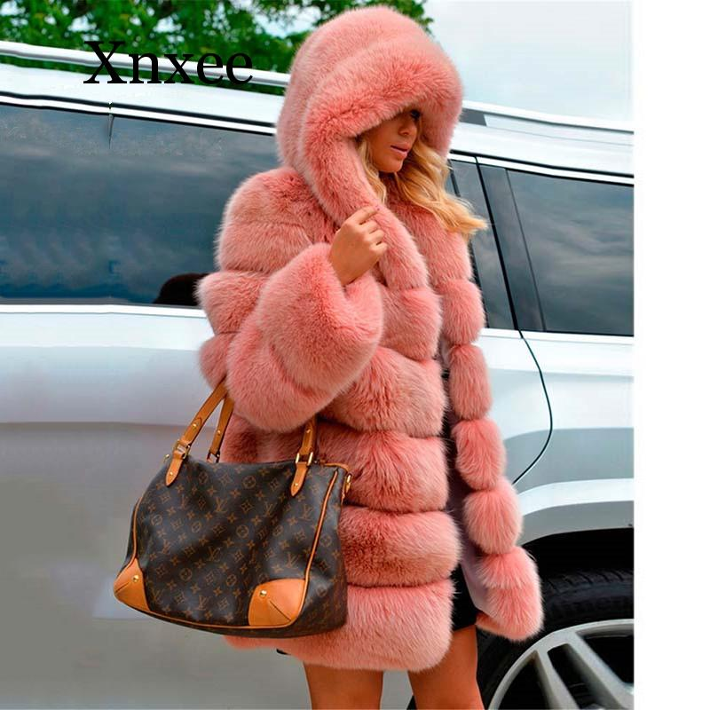 Fashion Fur Coat Women Long Faux Fox Fur Jacket With Big Fur Hood Full Sleeve Winter Thick Fur