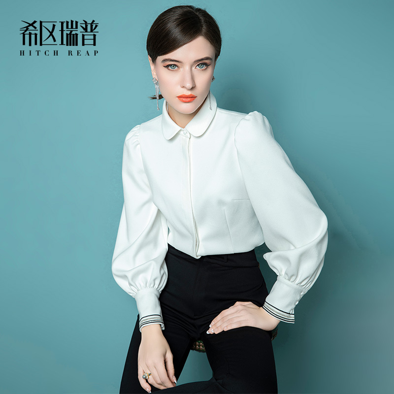 High End Thickened Shirt Women'S Design Sense Minority Shirt Autumn And Winter New French White Long Sleeve Top