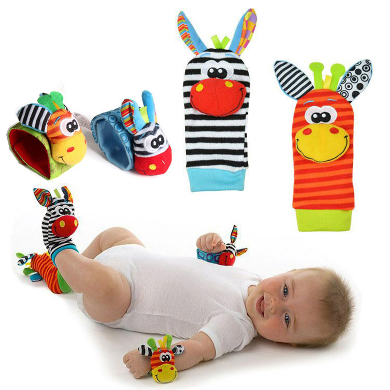 1pcs Cartoon Baby Socks Rattle Toys For 0-24 Months Infant Boys And Girls Music Wrist Rattle And Foot Socks Rattle Toys