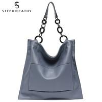 SC Marke Luxus 100% Echtem Leder Handtaschen Für Frauen Mode Tasche Große Kapazität Große Kette Schulter Taschen Tote Hobos A4
