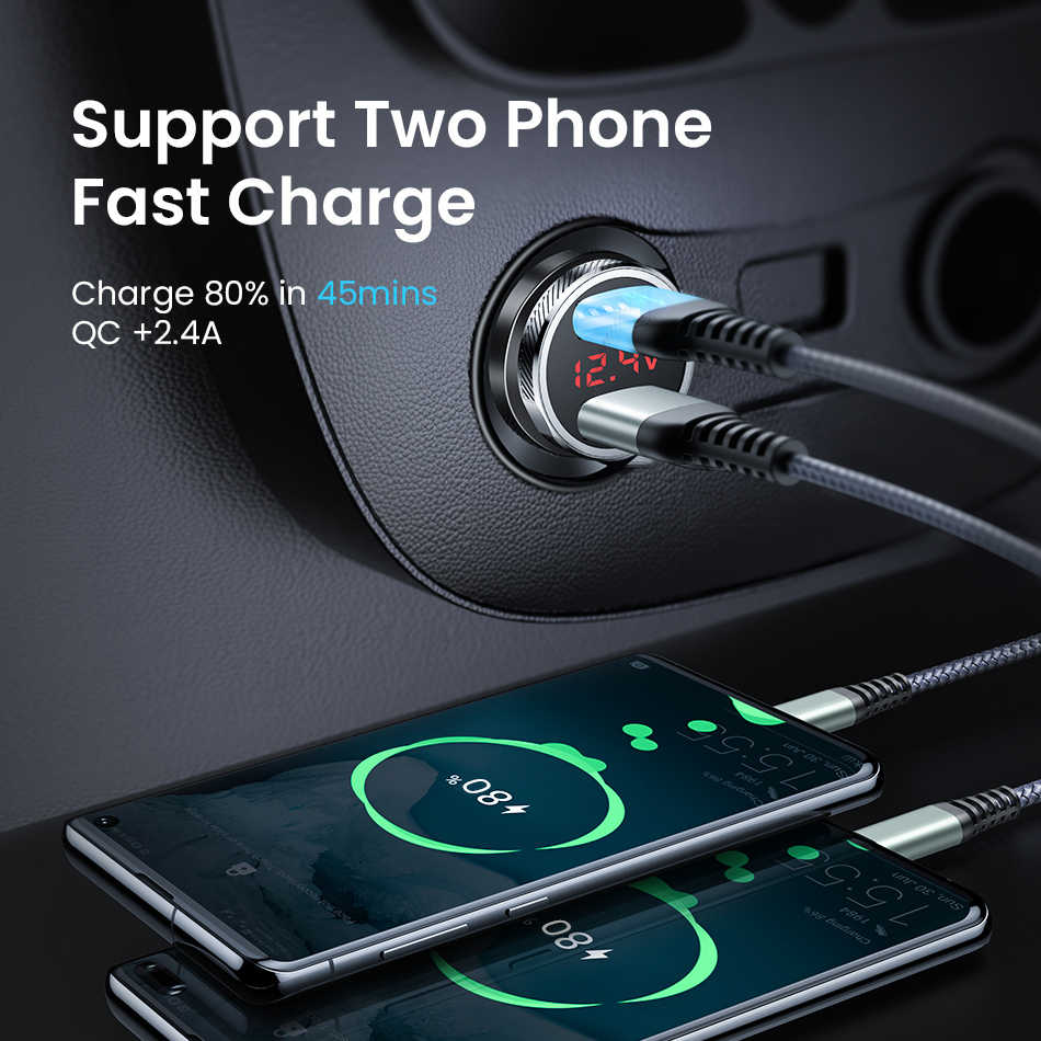 FIVI auto ladegerät für handy Schnelle ladegerät QC 3,0 Digital LED Spannung Display usb ladegerät für samsung xiaomi iphone huawei