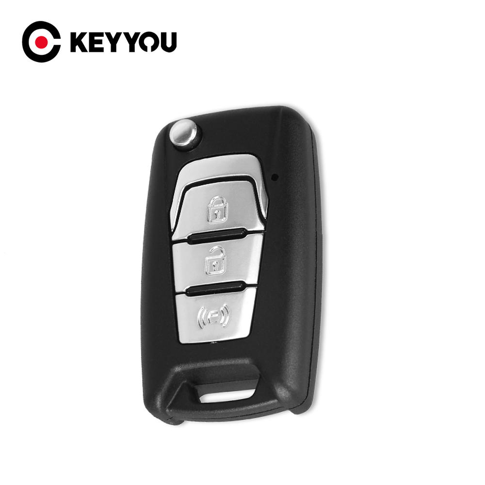 KEYYOU New Arrival Flip Folding Remote Car Key Shell Case Fob 3 Buttons For SsangYong Korando New Actyon C200 2016 2017 Uncut image