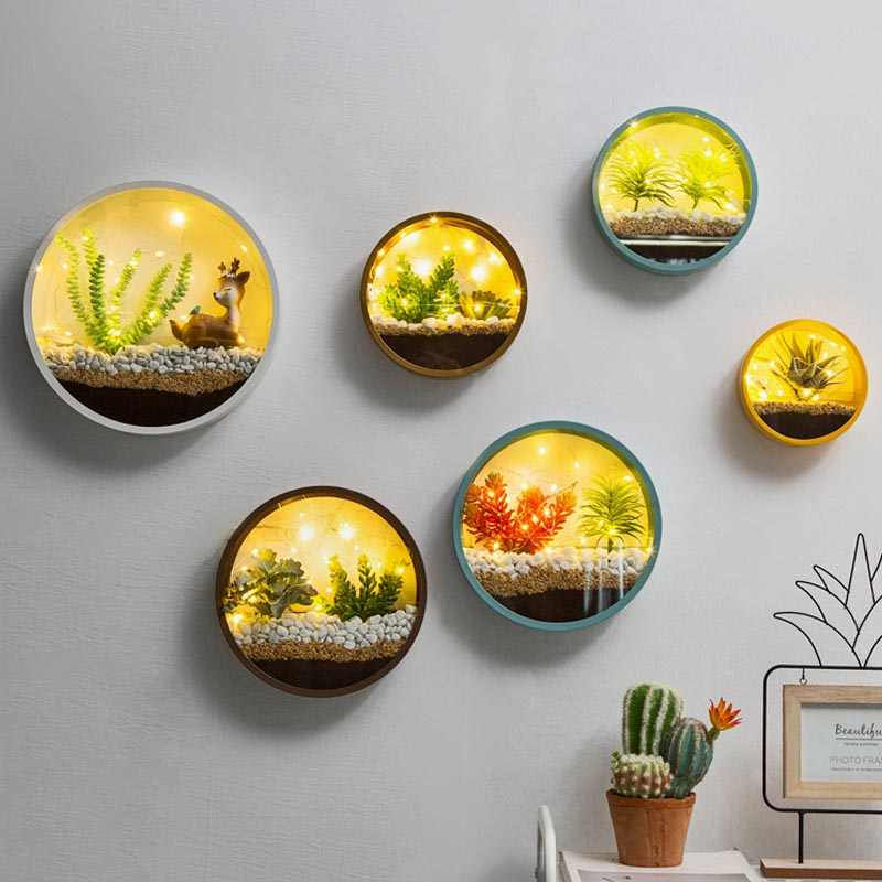 Modern Round Iron Acrylic Hanging Flower Pot Wall Vase Planter For Home /&  Decor