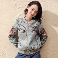 Bomber Jacket Women Embroidered Beading Vintage Jacket Casual Coat Punk Outwear L Baseball Stand Collarong Sleeve Coat Fashion
