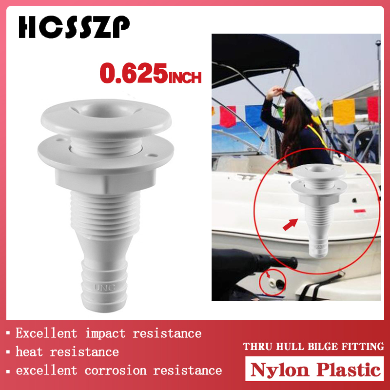 Boat Marine Yacht Sail RV Camper Truck Nylon Plastic Thru Hull Bilge Fitting For Bilge Pump Drain Vent Aerator Hose Fitting