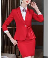 2020 Autumn Winter Fashion Design women skirt suit elegant half sleeve blazer and skirt office Interview plus size Work wear(China)