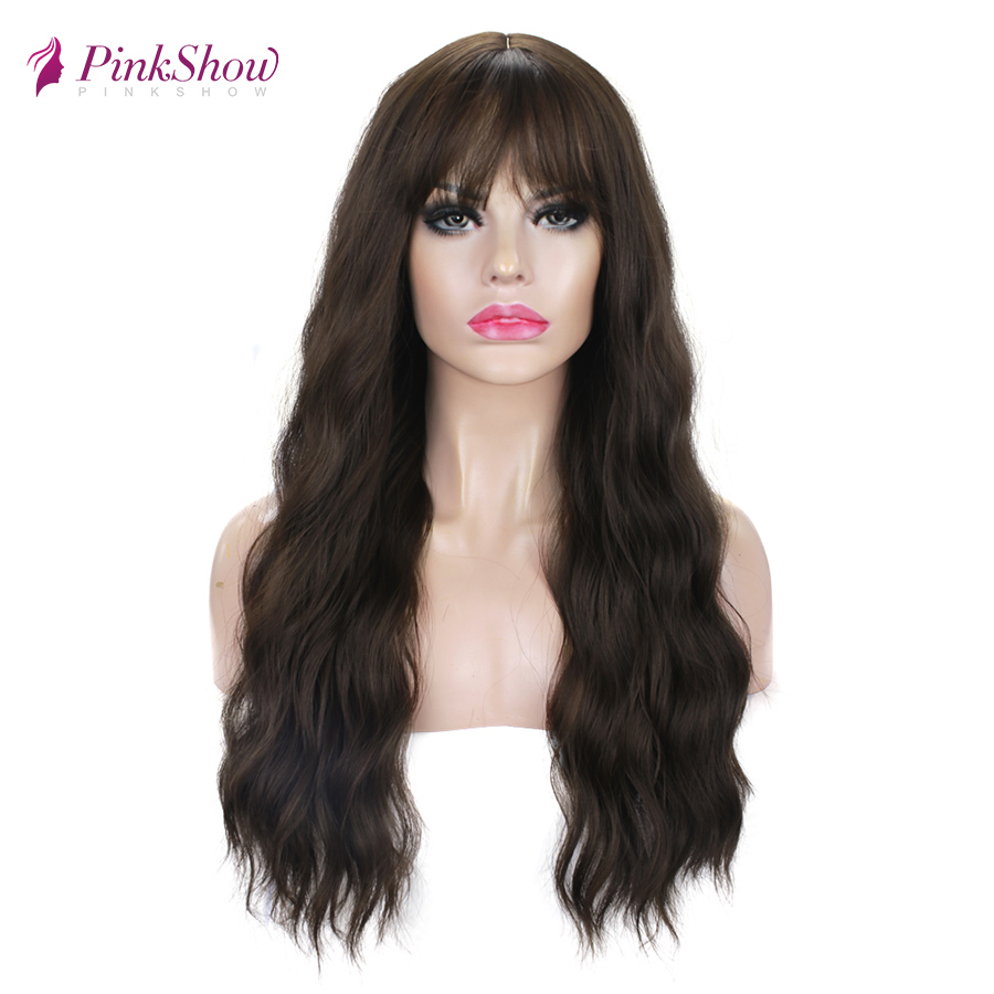 Pinkshow Brown Wigs For Women Synthetic Wigs With Bangs Deep Wave Cosplay Wig Heat Resistant Fiber Natural Hairline Wig