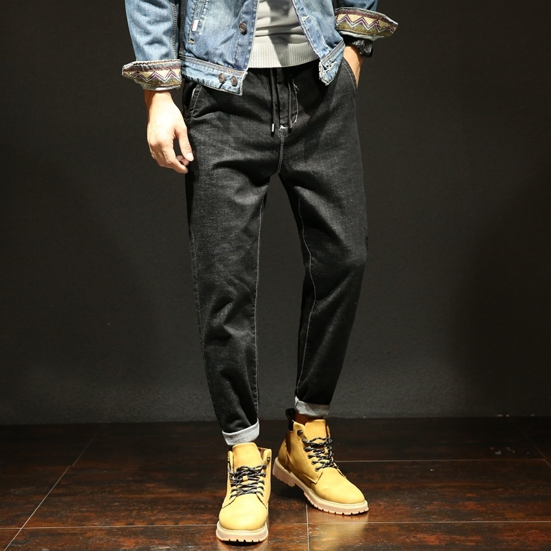 Spring And Summer New Arrival Jeans Male Elastic Buckle Hallen Pants Loose Jeans
