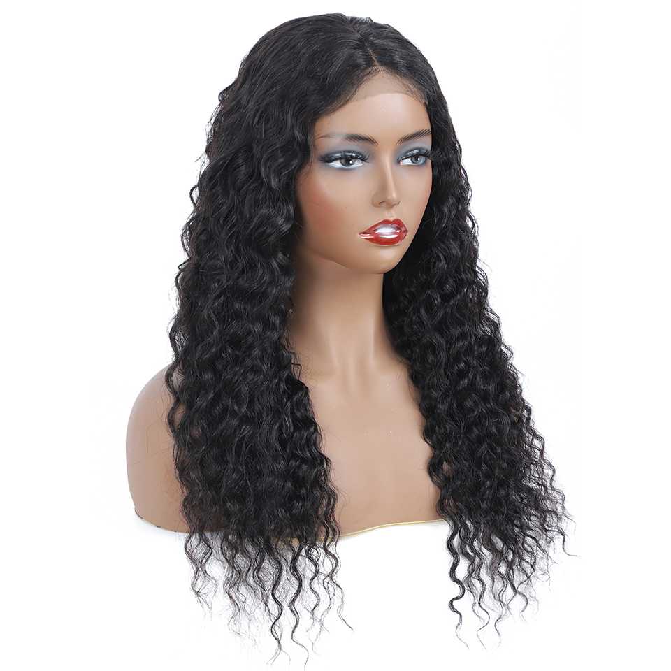 4x4 Lace Closure  Wigs  Water Wave Wig Part Lace Wig  Pre Plucked  Deep Curly Wig Natural Color 4