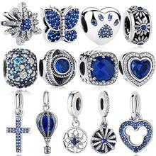 ELESHE autentyczne 925 srebro koraliki niebieski kryształ Pet Paw serce gwiazda Daisy Charm Fit oryginalna bransoletka pandora DIY biżuteria