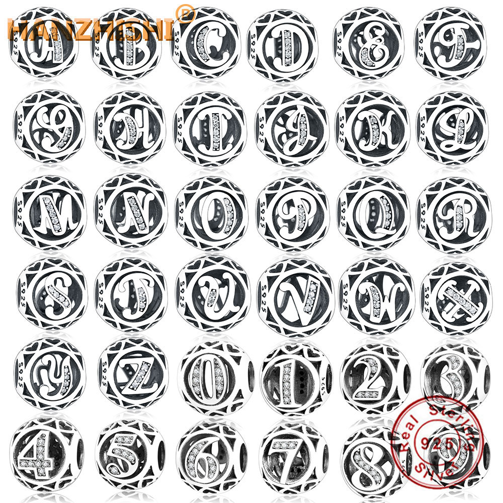 100% 925 Sterling Silver Number Letter Charm Beads Fit Original Pandora Charm Bracelet Birthday Number Name Letter DIY Jewelry(China)