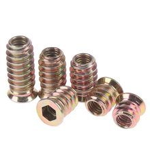 Furniture-Nuts Hex-Drive-Head Wood-Insert-Nut Thread Carbon-Steel 10pcs for Flanged M6-Zinc-Plated