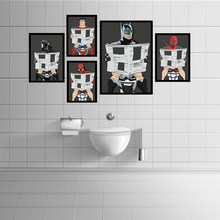 Cartoon poster&print superhero/man read newspaper in the toilet painting washroom restroom decor wall art picture murals charts(China)