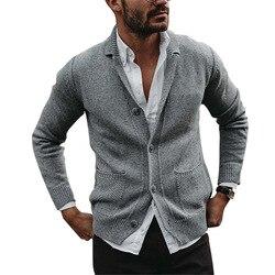 2020 hommes col rabattu Cardigan chaud automne hiver poche confortable à manches longues vestes tricoté décontracté mâle Pull Pull