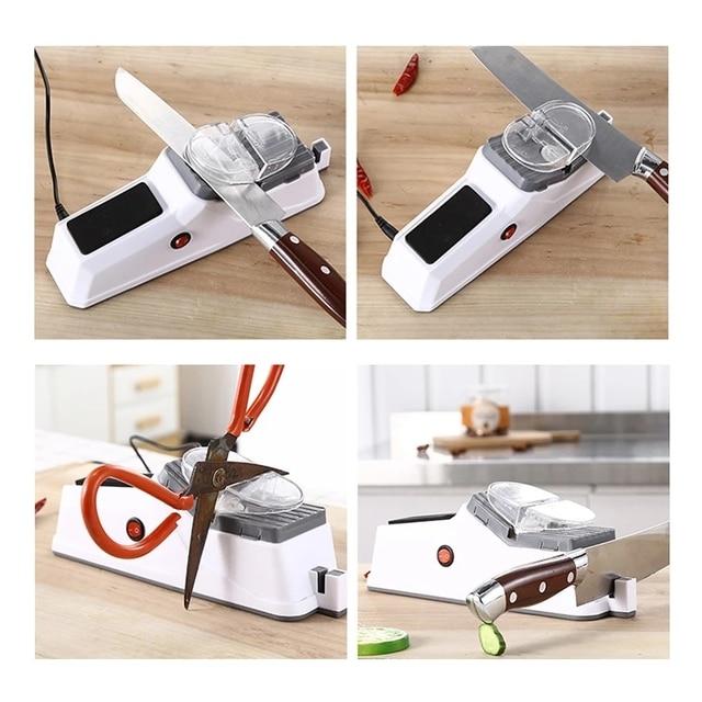 Afilador de cuchillos eléctrico USB, herramienta ajustable para cuchillos de cocina, tijeras, afilador blanco, hoja de molienda media y fina 2
