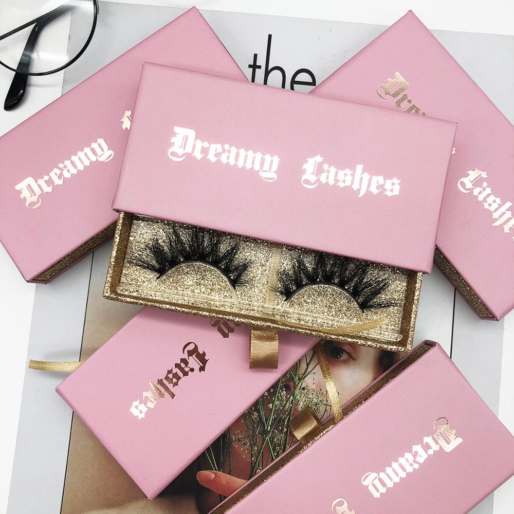 Sweet Pink Mink Eyelashes Packaging Box With Hot Stamping Words, Luxury Real Mink Lashes Custom Your Brand Logo Lash Box 100pcs