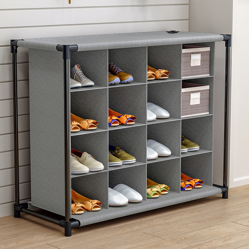 16 grids Shoe Cabinet Large Gray 4 Tiers Clutter Storage Unit Durable Fabric Shoe Organizer with Metal Frame for Storing Shoes