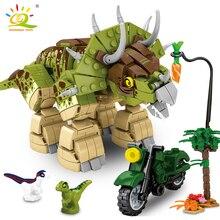 Building-Blocks Jurassic Dinosaur Motorcycle Bricks Figures City Children Toys Triceratops