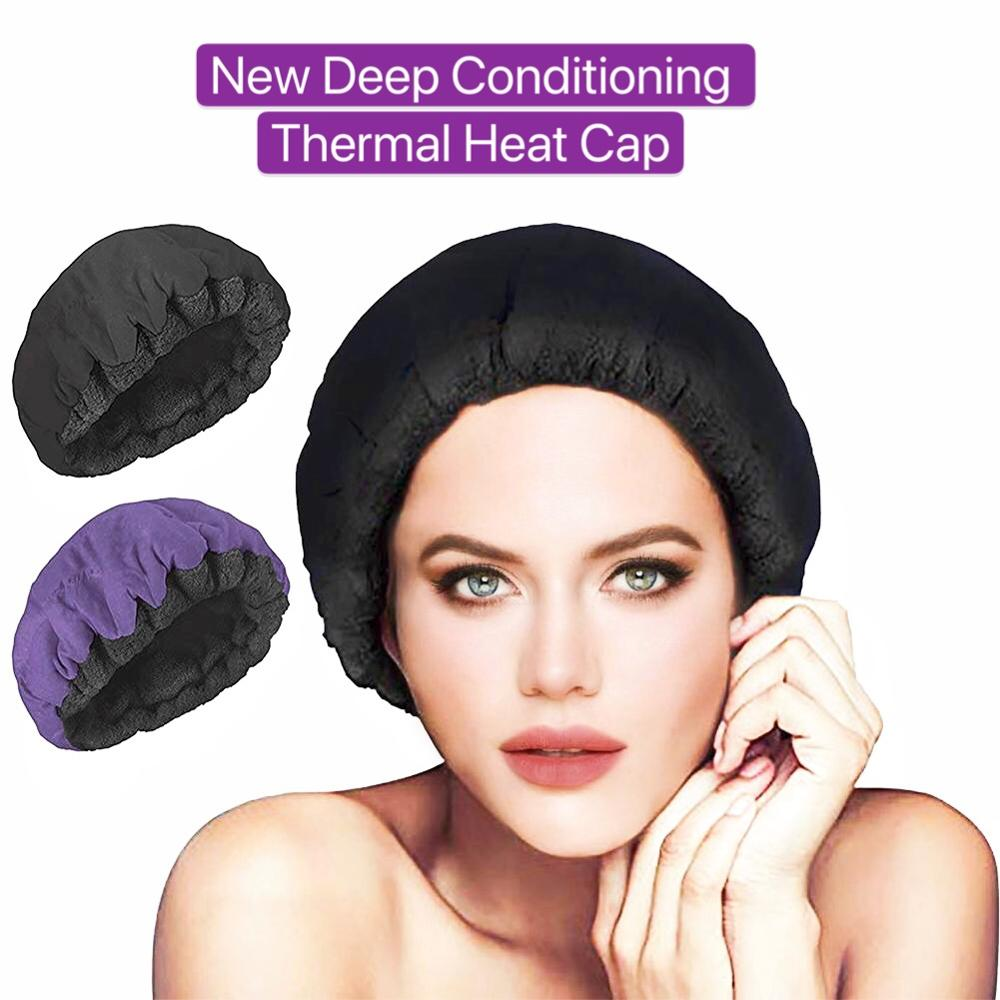 Thermal Heated Cap Hair Care Treatment Deep Conditioning Thermo-Cap Microwavable Steaming Microfiber Cotton Reversible Flaxseed