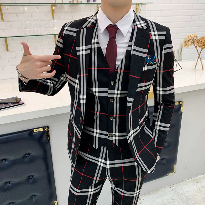 2019 Plaid Italian Suits Mens Smoking Jackets Mens Wedding Suits Ternos Slim Fit Vestito Uomo Elegante Costume Homme Mariage