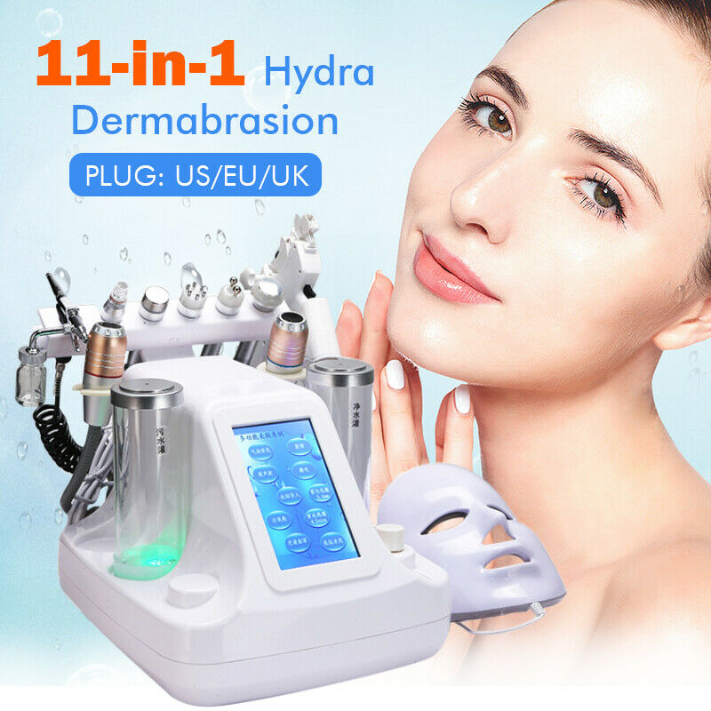 11 IN 1 Small Bubble Oxygen & Water Jet Peel Hydrafacial Machine RF Facial Cleaning Blackhead Acne Vacuum Beauty Equipment