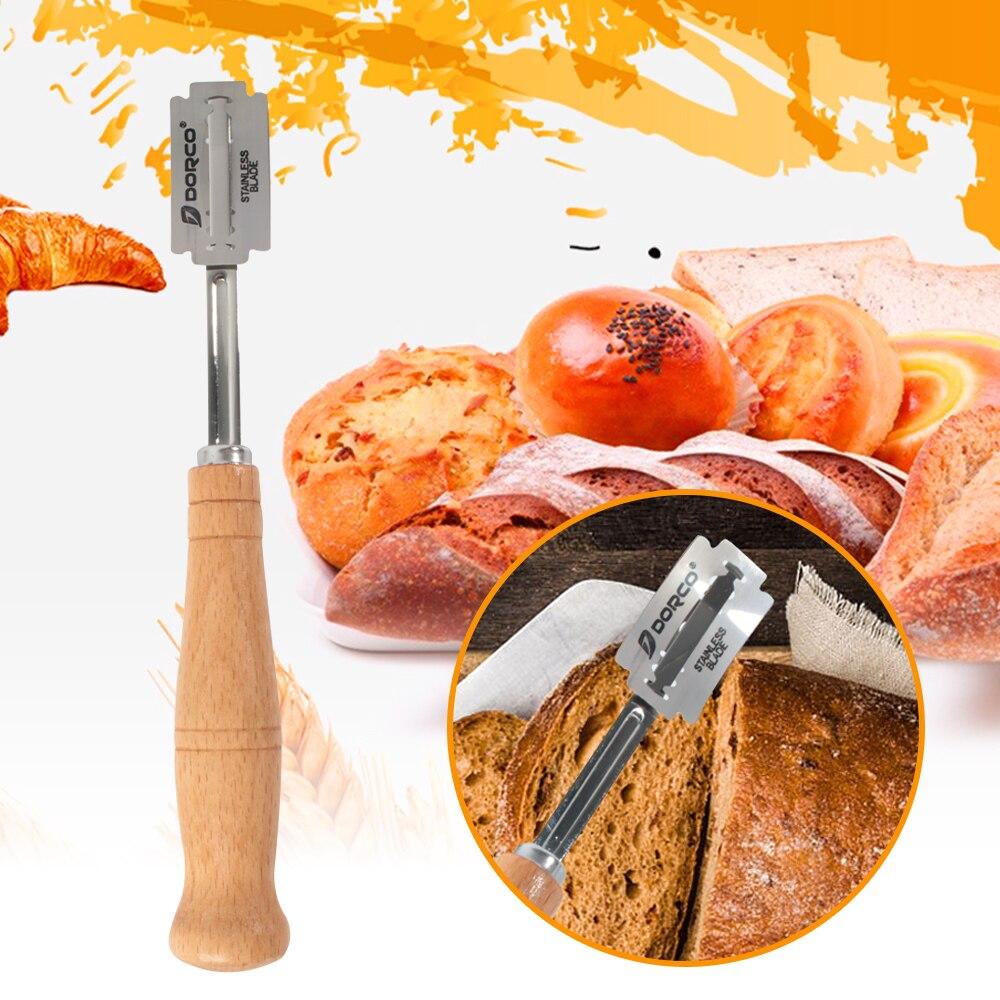 Trancheur couteau à pain avec manche Long en bois | Ustensiles de cuisine, racloir de boulangerie, couteau à pain, coupe pâte pains, Lame de marquage 3