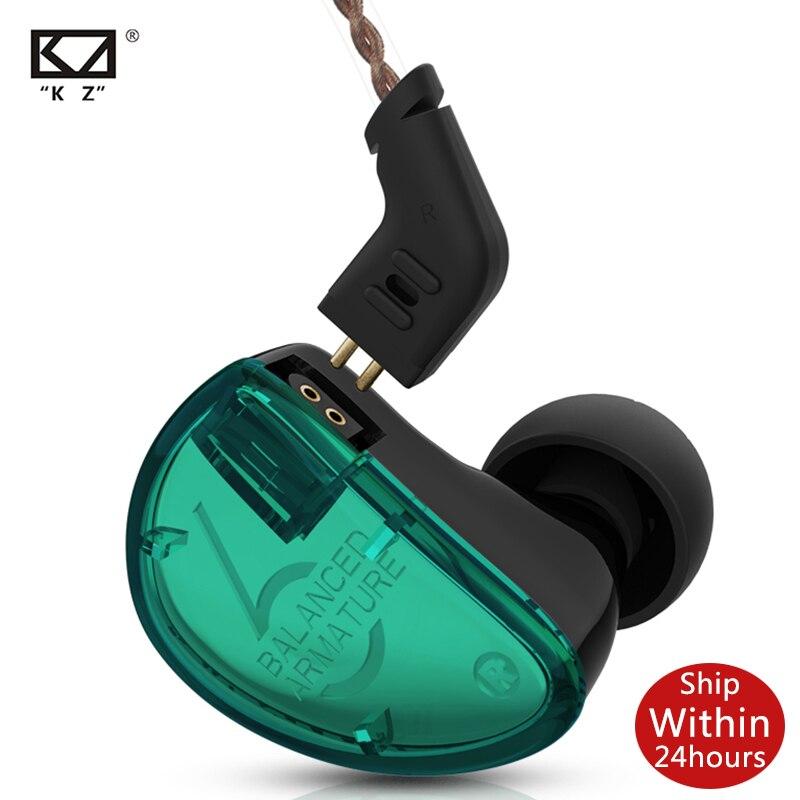 KZ AS06 Headset 3 Ausgewogene Anker Fahrer HIFI Bass Monitor Kopfhörer Ohrhörer In Ohr Kopfhörer Mit 2pin Kabel KZ ZS10 ZSX AS10