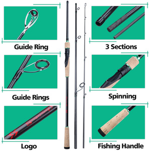 Image 4 - Sougayilang New 3 Sections Portable Fishing Rod 1.8 2.4M Carbon UltraLight Spinning /Casting Fishing Pole EVA Handle Tackle