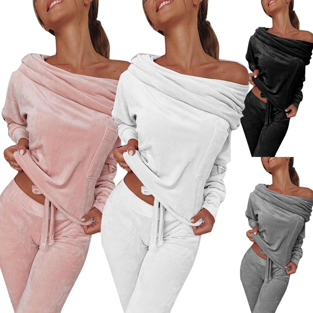 One Set Casual Solid Color Women Long Sleeve One Shoulder Top  Pants Tracksuit Set Leisure Sports Shoulder Two-piece Breathable
