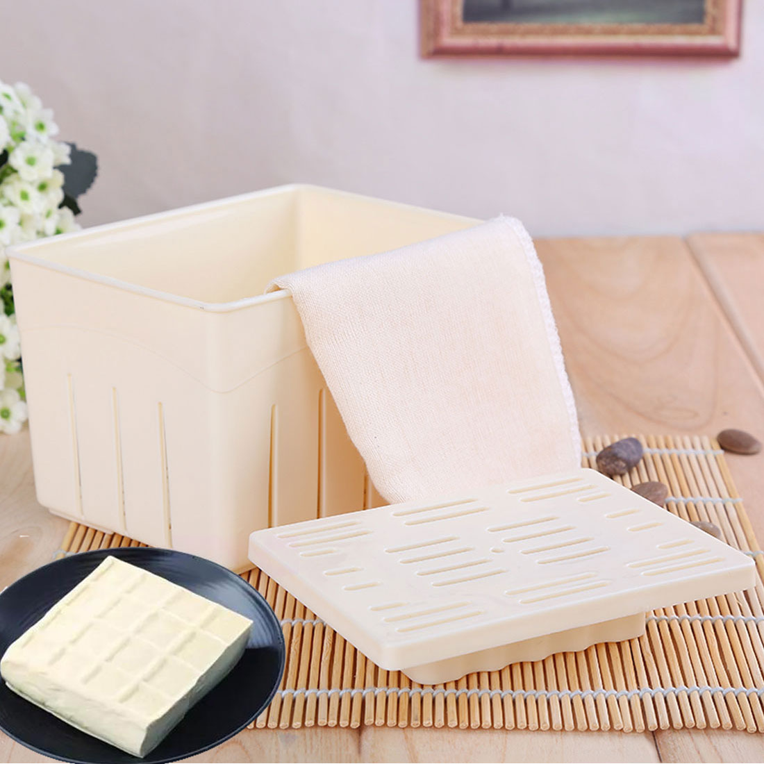 DIY Tofu <font><b>Mold</b></font> Plastic Tofu Press Mould Homemade Soybean Curd Tofu Making <font><b>Mold</b></font> With <font><b>Cheese</b></font> Cloth Kitchen Cooking Tool Set image