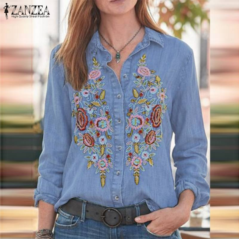 2019 Plus Size ZANZEA Autumn Denim Shirt Fashion Women Casual Lapel Long Sleeve Floral Embroidered Work Tunic Tops Blouse Blusas