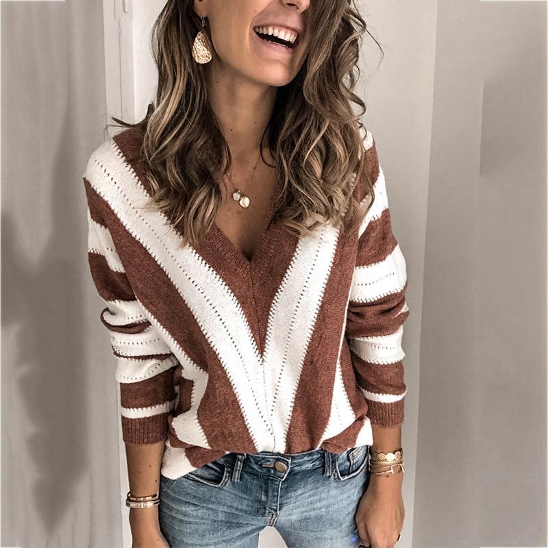 Women's Striped Sweater V-neck Knitted Jumper Women Sweater Knitted Sweater Women Sweaters And Pullovers Striped Streetwear