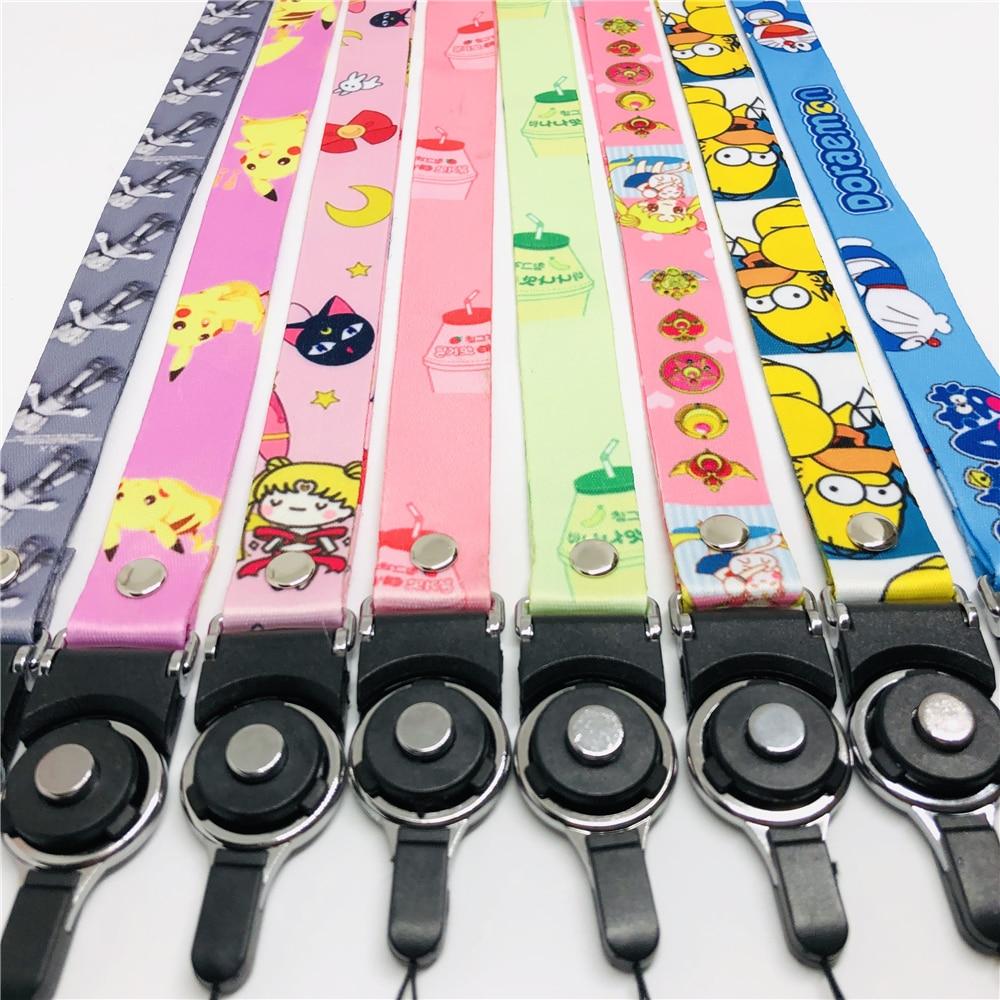 Lanyard Mobile Phone Strap Pink Cartoon Cute Cat Lanyard Neck Strap For Keys ID Card S For Huawei USB Badge Holder DIY Hang Rope